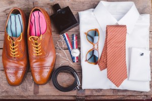 Men accessories on vintage wooden table